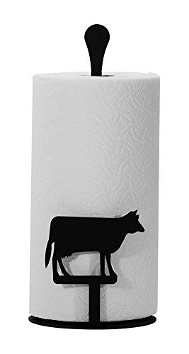 (Iron Counter Top Cow Kitchen Paper Towel Holder - Heavy Duty Metal Paper Towel Dispenser, Kitchen Towel Roll Holder)