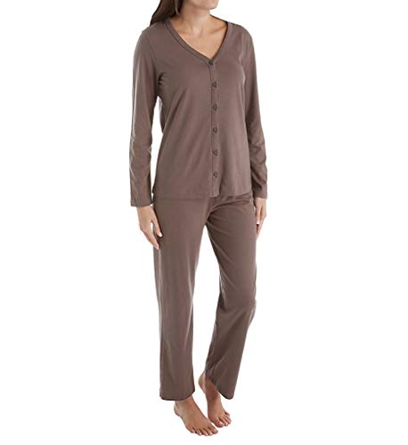 (Jockey Women's Cotton Cardigan Pajama Set, Taupe, Small)