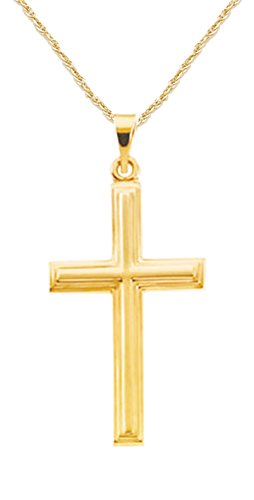 New Solid 14k Yellow Gold Christian Cross Pendant Rope Chain Necklace