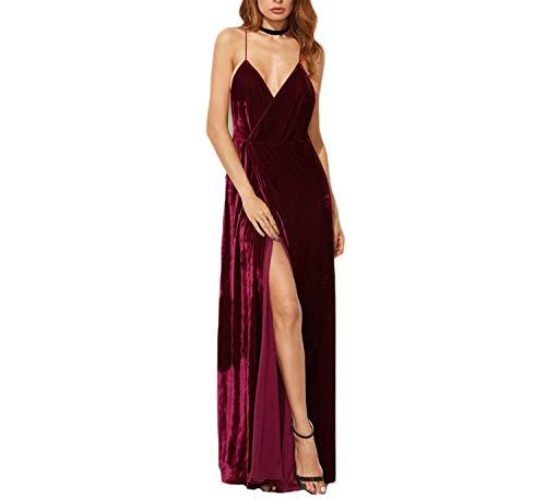 Burgundy Velvet Maxi Backless Dress Womens Party Dresses Deep V Neck Long Elegant Dress New Strappy Wrap Dress,Red,M