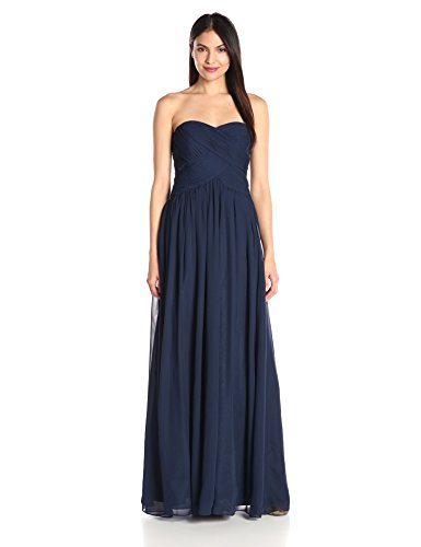 JS Boutique Women's Strapless Rouoched Bodice Chiffon Gown, Navy, 8