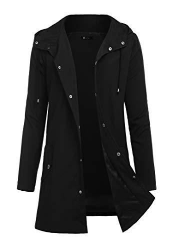 RAGEMALL Men Raincoats Waterproof Jacket with Hood Active Outdoor Long Windbreaker Lightweight Rain Jacket for Men Black -