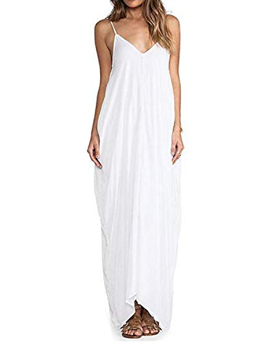 Zanzea Womens Maxi Dress Casual Summer Sundress Long Boho, 02 White, Size 4.0