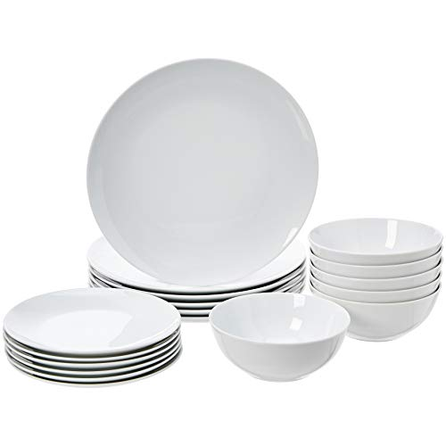 AmazonBasics 18-Piece Kitchen Dinnerware Set, Plates, Dishes, Bowls, Service for 6, White Porcelain Coupe