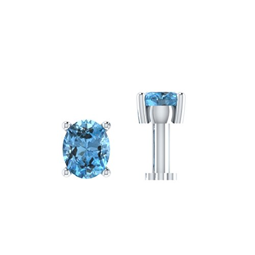 Silvercz Jewels 0.15 Ct Aquamarine Solitaire Nose Bone Sterling Silver Screw Stud Piercing Ring Pin by Silvercz Jewels