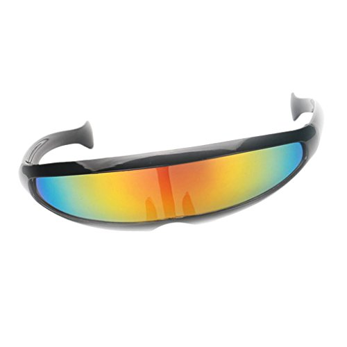 CUTICATE Futuristic Cyclops Cyberpunk Sunglasses Silver Mirrored Mono Lens Visor - Black Frame Yellow Mirrored, as described