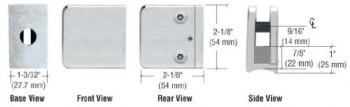 (C.R. LAURENCE Z155SS CRL Satin Stainless Z-Series Large Square Glass Clamp for 3/8
