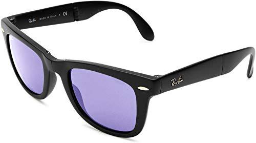Ray-Ban RB4105 Wayfarer Folding Sunglasses, Matte Black/Lilac Mirror, 50 mm (Rey Ban Brille)