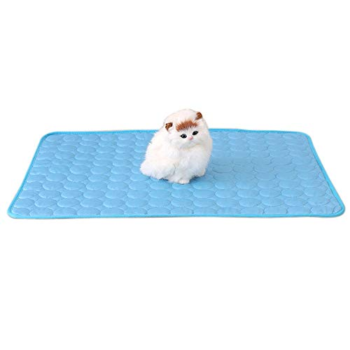 Pet ice pad- Pet Mat Summer Kennel Pad Sofa Cushion Cat Cool Pad - Ice Silk Pad Keep Pets Summer Cool Comfort for Cats and Dogs, Ideal for Home & Travel (M, Blue)