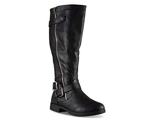 Twisted Women's Amira Wide Width Asymetrical Zip-Up Knee High Riding Boot- Black, Size -
