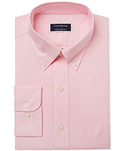 Club Room Men's Slim Fit Performance Easy-Care Oxford Solid Dress Shirt Pink 16 34-35 ()