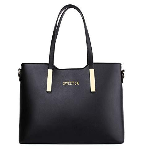 JHVYF Women Casual Pu Leather Shoulder Bag Top Handle Handbag Purse Black L (Best Faux Leather Handbags)