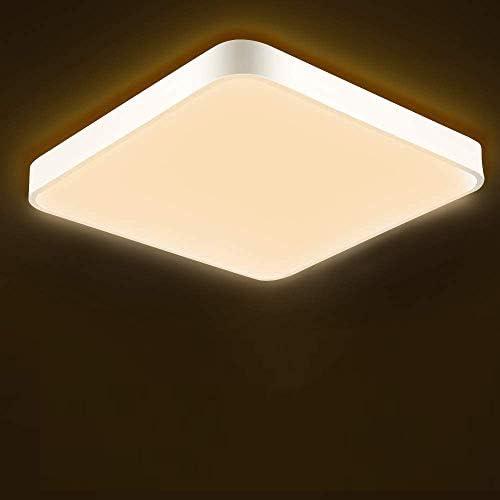 chollos oferta descuentos barato Ankishi LED 36W lámpara de techo resistente al agua moderna LED luz de techo Cuadrado delgada 3000K para baño Dormitorio Cocina Sala de estar Comedor Balcón Pasillo Blanco cálido