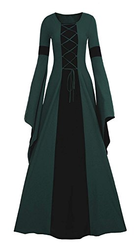chimikeey Womens Renaissance Medieval Costume Dress Lace Up Irish Over Long Dresses Retro Gown -