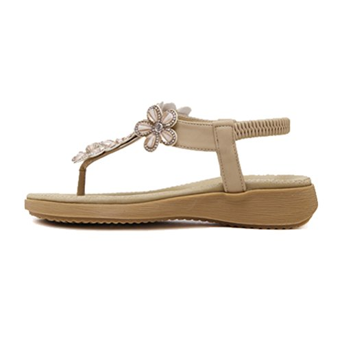 Btrada Dames T-strap Platte Sandalen Glitter Bloem Bohemen Strand Sandalen Abrikoos