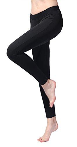 SEKERMAET Workout Leggings Yoga Pants, Gym Athletic Tights for Women Mid Waist Seamless Running Sports Flex Black