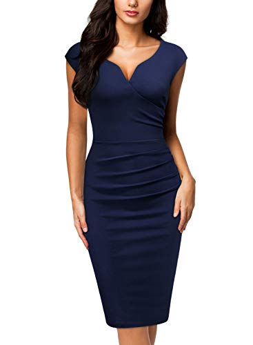 Miusol Women's V-Neck Sleeveless Vintage Slim Style Business Pencil Dress (Small, B-Navy Blue)