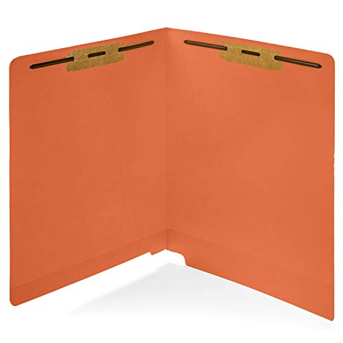 50 Orange End Tab Fastener File Folders- Reinforced Straight Cut Tab- Durable 2 Prongs Designed to Organize Standard Medical Files, Receipts, Office Reports, and More - Letter Size, Orange, 50 Pack