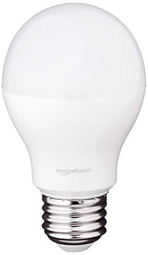 Amazon Basics 60 Watt Equivalent, Daylight, Dimmable, 15,000 Hour Lifetime, A19 LED Light Bulb, 6-Pack