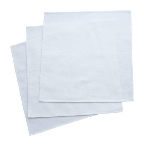 "- Organic Handkerchiefs Womens Cotton Set - 11"" white hankies 3 pack Made in USA"