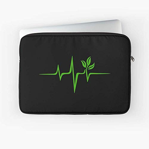 - Heartbeat Pulse Green Vegan Frequency Wave Earth Planet Laptop Sleeve - Lightweight - Great Gift for Family and Friends