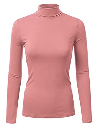 Doublju Soft Knit Turtleneck T-Shirt Top for Women with Plus Size ANTIQMAUVE Small