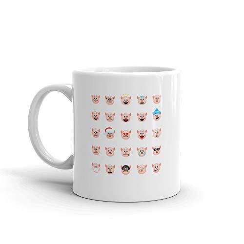 Set Of Pig Emoticons Mug 11 Oz Ceramic