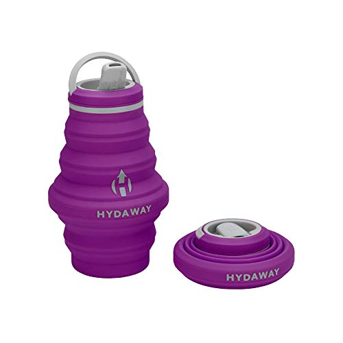 HYDAWAY Collapsible Water Bottle, Spout Lid   Ultra-Packable, Travel-Friendly, Food-Grade Silicone (17oz, -