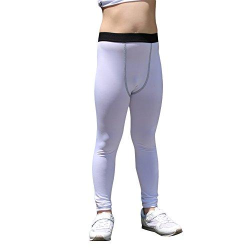 Lanbaosi Boys & Girls Sports Thermal Compression Base Layer Legging/Tights (10, White) Girls Thermal Legging