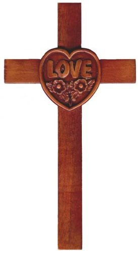 20cm wooden Mahogany large Love Heart wall hanging cross brown Shalom