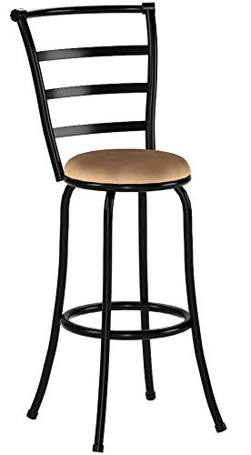 "Mainstays 29"" Ladder Back Barstool with Tan Microfiber Swivel Seat, Black Metal Finish"