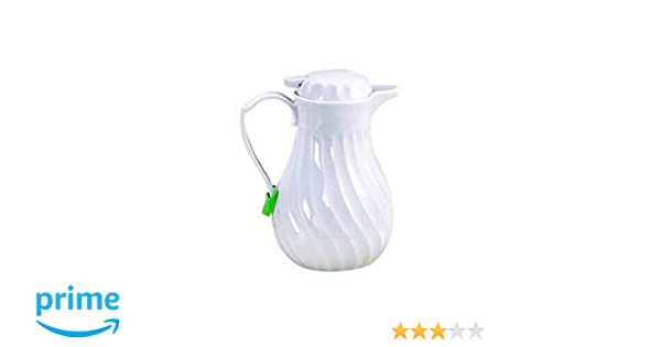 Insulated Coffee Carafe with Thumb Press Commerical Quality for Restaurant Use Tablecraft 20 oz  White Swirl Beverage Server