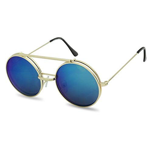 Metal Round Retro Boho Transparent Colored Mirrored Steampunk Flip Up Glasses Sunglasses (Gold | Blue, ()