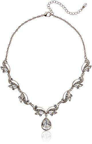 - 1928 Jewelry Silver-Tone Vine Teardrop Necklace 16