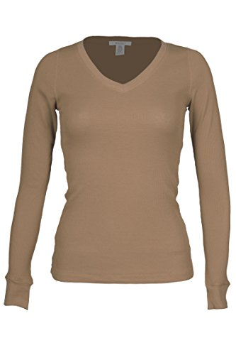 Thermal Tee Heart - Fitscloth Women's RT1205V Waffle Thermal V Neck T Shirt Lt.Mocha Medium