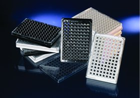 NUNC 96 Well Optical Bottom Plate Polystyrene with Lid, Black, Cell Culture, 30/CS ()