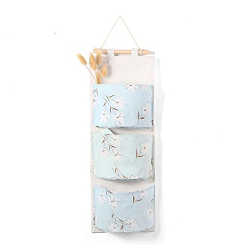 Storage Box,Clearance!AmyDong Cotton Linen Bag Storage Bag Wall Mounted 3 Bags Storage Bag Kitchen Supplies Fluid Systems Multilayer Bags (Light blue)