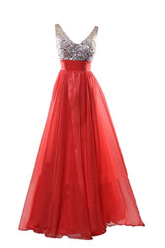 Empire Exquisite Red Avril Length Evening Neck Dress Floor Dress Party Beading V SFFxPn5qwp