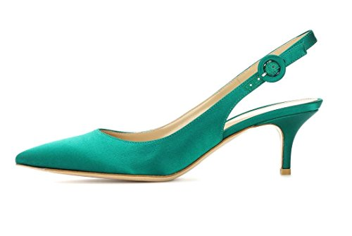 Heel Pumps| Pointed Toe Slingback Sandals | 6.5CM Mid Heel Wedding Dress Shoes Satin Green US7.5 ()