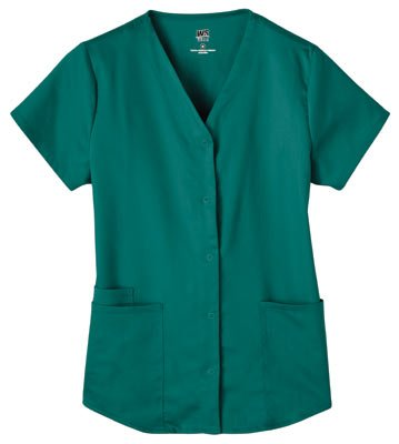 White Swan Fusion Women's Snap Front Shirttail Scrub Top, Hunter Green, Size 2X