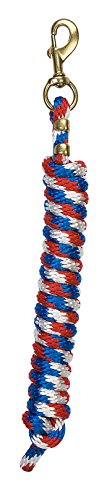 Weaver Leather Poly Lead Rope with Solid Brass 225 Snap, Blue/Red/White