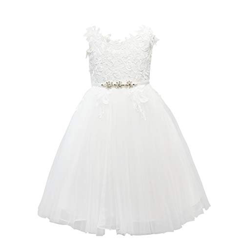 Miama Ivory Lace Tulle Straps Wedding Flower Girl Dress Junior Bridesmaid Dress