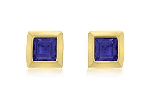 Boucles d'oreilles clous or jaune 9carats avec Topaze Bleu Carré