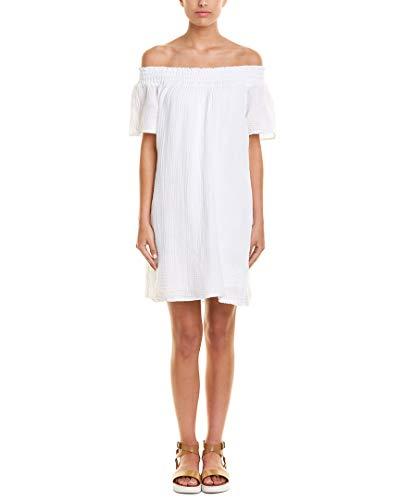 Michael Stars Women's Double Gauze Smocked Off Shoulder Dress White Dress