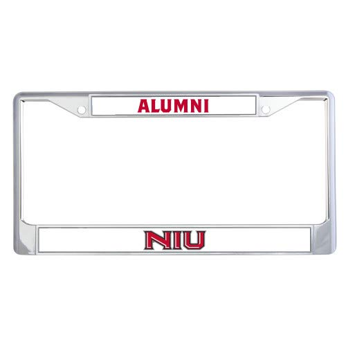CollegeFanGear Northern Illinois Alumni Metal License Plate Frame in Chrome 'Primary Wordmark'