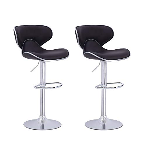 PU Leather Adjustable Bar Stools, 2Pcs Modern Design Counter Height Adjustable Swivel Stool Bar Chairs with Seat and Back (Black, 2Pcs)