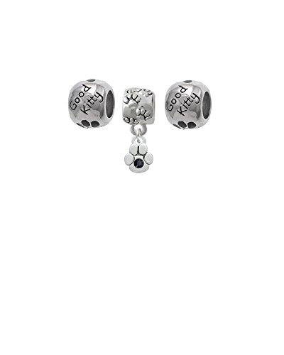 Mini Paw with Black Crystal Paw Print Charm Bead with Good Kitty Beads (Set of 3)
