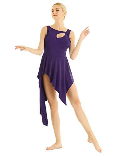 (YiZYiF Lyrical Women Ballet High Low Dance Dress Leotard Short Dress with Sleeveless Crew Neck Purple X-Small)