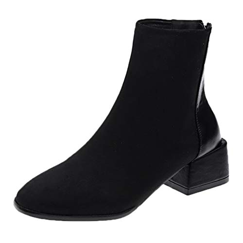 (Womens Boots, New Classic Suede Square Heel Square Toe,Women Keep Warm Zipper Short Tube Martin Boots Black)