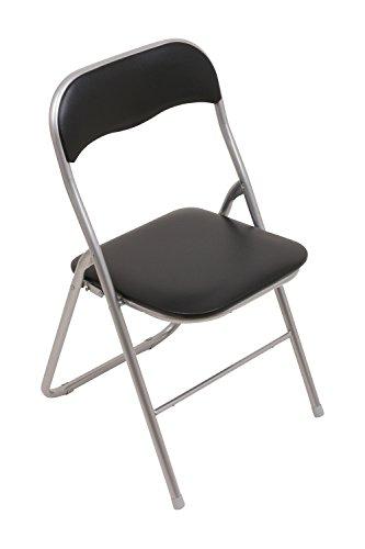 Set - 6x Klappstuhl mit Metallrahmen und Kunstlederbezug - silber-schwarz - Brandneu